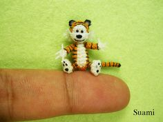 Miniature Tiger Hobbes 02 - Micro Crochet Character Tiger - Made To Order. $85.00, via Etsy.