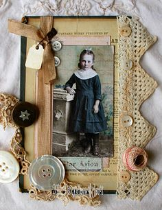 Altered Book Cover...love the vintage lace and all the goodness!