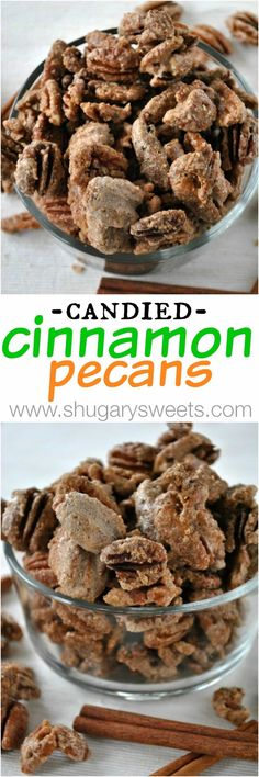 Candied Cinnamon Pecans are so easy to make and are a great snack for the holidays. Pecan Recipes, Sweets Recipes, Candy Recipes, Just Desserts, Holiday Recipes, Snack Recipes, Cooking Recipes, Easy Sweets, Holiday Treats
