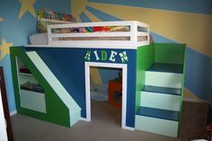 Kidsroom. Childrens Bedding Marvellous Design Ideas Of Ikea With Blue And Green Also White Colors Bunk Bed Combine Stairs Drawers Slide Board Storage Shelves Brown Covered Bedding Sheets Pillows Cream Wall Paint Beige Fur Carpet Wooden Metal Beds. Wonderful Diy Kids Beds Design Ideas