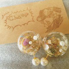 ガラスドーム beachピアス by CHA_P アクセサリー ピアス