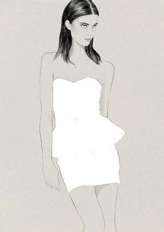 Fashion illustration - white peplum dress drawing // Judith van den Hoek