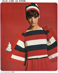 Vintage Nina Ricci Red white and blue outfit.