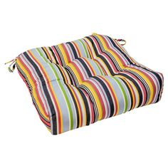 Add a bright pop of color to your patio or poolside seating group with this tufted outdoor seat cushion, crafted from Sunbrella fabric and featuring multicol...