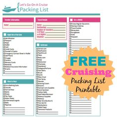 FREE Cruising Packing List - Print Now! #FREE #Camping