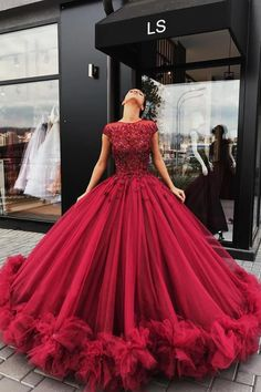 Cheap Prom Dresses UK,Buy Red Tulle Appliques Ball Gown Round Neck Prom Dress,Sweet 16 Dresses,Quinceanera Dresses on rosepromdress Red Ball Gowns, Ball Gowns Evening, Tulle Ball Gown, Ball Gowns Prom, Ball Gown Dresses, Red Gown Prom, Prom Ballgown, Corset Dresses, Satin Tulle