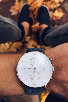 watch for him | affordable luxury | fall | golden autumn | leaves | october | blue and white | chronograph | gift for boyfriend | Chrono Silver Light Blue Woven Leather by Kapten & Son | #watch #minimal #classy