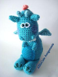 Crochet Pattern Amigurumi Dragon Dinosaur Pattern by AllSoCute