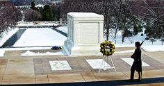 Tomb of the Unknown Soldier at Arlington National Cemetery Spring Snow