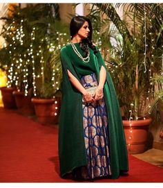 Bottle green cape style banarasi lehenga is my top favourite this month. Indian Fashion Dresses, Indian Designer Outfits, India Fashion, Ethnic Fashion, Pakistani Dresses, Indian Outfits, Designer Dresses, Pakistani Suits, Emo Outfits