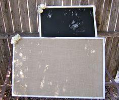 1 XXL Burlap Vintage Rustic Woodland Shabby Chic Chalkboard Wedding Message Menu Board Seating Chart Board. $65.00, via Etsy.
