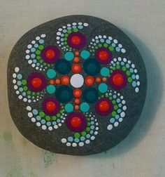 Hand Painted Rock  Colorful Dot Art on Stone