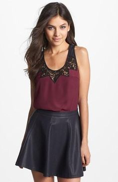 <3 Lace Tank + leather skirt