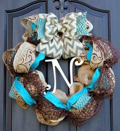 Chevron burlap wreath - Wreath for door - Summer Wreath - Spring Wreath - Home Decor -Gift idea on Etsy, $72.00