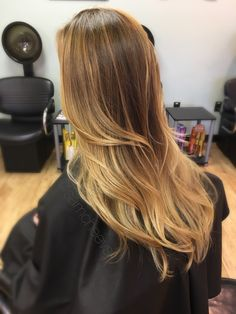Warm golden honey blonde ombré for dirty blond hair types  long layered haircut