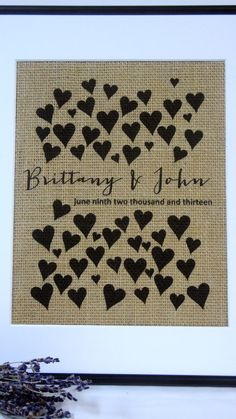 Personalized Engagement and Wedding Monogram Burlap Print...Great for wedding or anniversary!
