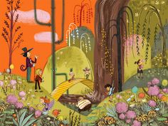 Emily 'Wild' Hughes and the chocolate factory. Art and illustration Kitty Crowther, Collage Drawing, Drawing Ideas, Landscape Background, Visual Development, Pretty Art, Children's Book Illustration, Decoration, Illustrations Posters