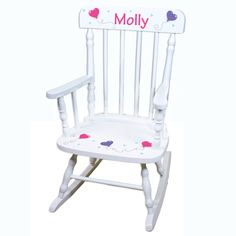 Hand Painted Personalized Childs White Spindle Rocking Chair   Wood Kids  Rocker Toddler Chair Girls Rockers Custom Childrens Furniture Girl