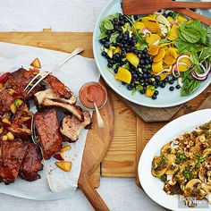 Finally: a summer bbq menu that doesn't involve hot dogs. A plum barbecue sauce takes basic ribs from expected to extraordinary. Whip up two big-batch salads and get ready to party. Invite List: 6-8 Guest Type: Your best girlfriends/