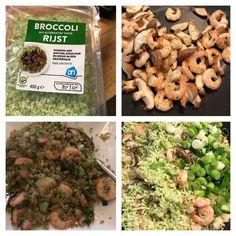 Broccolirijst met knoflook en garnalen, shii-takes, bosuitjes en oestersaus