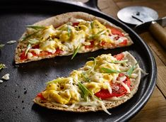 Egg, Tomato and Cheese Breakfast Pizzas Recipe