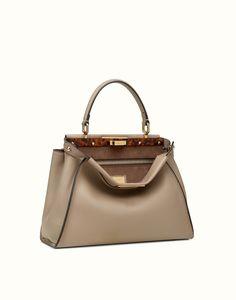 Fendi Peekaboo Leather Tote In Tortora-oro Suede Handbags, Purses And Handbags, Grey Leather, Leather Bag, Sacs Design, Fashion Bags, Fashion Handbags, Women's Fashion, Backpacks