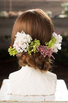 (和装・髪飾り)ピンクスカビオサ グリーンレッド ヘッドドレス(3P)  head dress