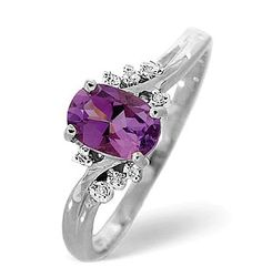 The ideal birthday present for a loved one born in February, this amethyst ring features 0.03CT of Premium Quality Diamonds nestled around the central amethyst stone. The elegant purple hues of amethyst are highlighted by the diamonds and the beautiful 9K white gold setting of this stunning ring.  #thediamondstoreuk #amethyst #amethystjewellery #amethystbirthstone #februarybirtshstone #amethystring