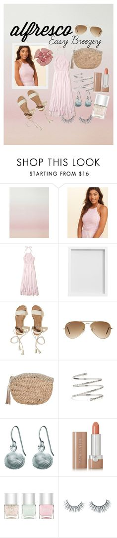 """Alfresco : Easy Breezey shades of pink"" by rosebuds1617 ❤ liked on Polyvore featuring Sandberg Furniture, Hollister Co., Pottery Barn, Ray-Ban, Frontgate, Venus, Chupi, Marc Jacobs, Nails Inc. and Unicorn Lashes"