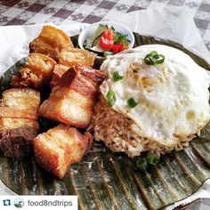 #Repost @food8ndtrips - One of our favorite ways to kick off a weekend filipino breakfast. Lechon kawali silog: fried pork belly with garlic rice served with two fried eggs #ffmsfbayarea #campbell #breakfast --- good morning and Happy Saturday! If you're in the Bay Area for #SB50 hit up Tapsilog Bistro for breakfast! The lechonsilog looks so sinful! Thanks to @food8ndtrips for sharing! #filipinofoodmovement by filipinofoodmovement