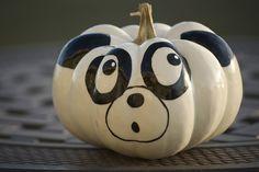 panda painted pumpkin 2012 by lisagroon, via Flickr Halloween Jack, Holidays Halloween, Halloween Pumpkins, Halloween Crafts, Holiday Crafts, Happy Halloween, Halloween Decorations, Halloween 2014, Painting Pumkins