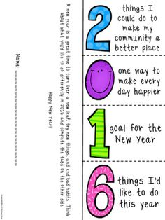 A new year (or a new school year) is a great time to turn over a new leaf, try new things, and end bad habits. Right around winter break (or at the beginning of a new school year) have a class discussion about resolutions. Brainstorm goals that are attainable and share some of your own. Have students create foldable and then hang for others to read. 3 versions included.
