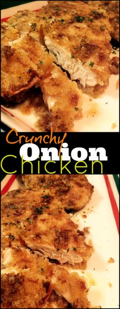 This Crunchy Onion Chicken turned out so yummy, we ended up having it twice in 1 week! We couldn't believe how moist and flavorful it was. No one would ever guess how easy or how few ingredients it (Crunchy Garlic Chicken) Chicken Onion Soup Mix Recipe, Onion Soup Recipes, Onion Chicken, Turkey Recipes, Meat Recipes, Chicken Recipes, Cooking Recipes, Dinner Recipes, Chicken Ideas