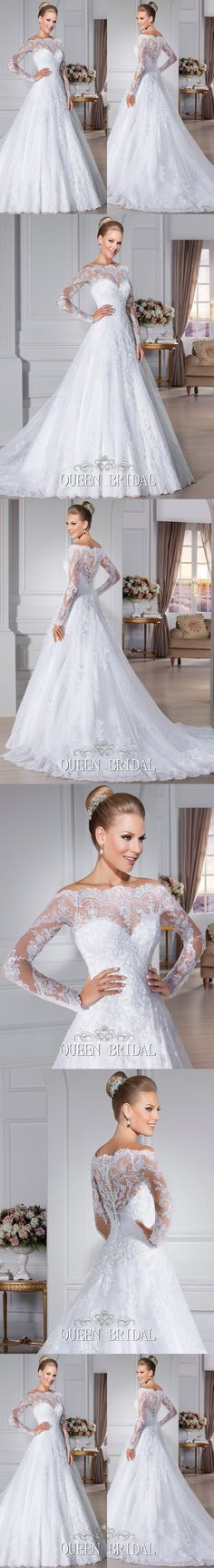 White long sleeve lace wedding dresses 2015 vintage a-line bridal dress wedding…