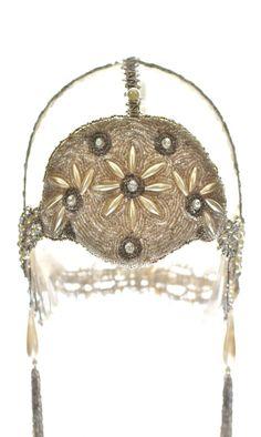 Authentic 1920's Art Nouveau Bridal Veil Headdress