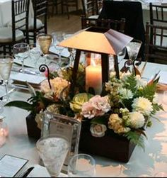 raised lantern centerpiece w/flowers