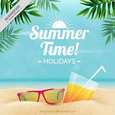 Óculos de sol e bebida no fundo da areia Vetor Premium
