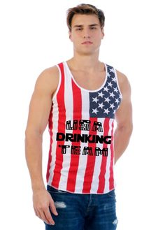 USA drinking team American flag shirt Men's Jersy Tanktop