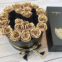 Shine bright with golden Roses Flower Boxes, Black Velvet, Infinity, Champagne, Bright, Instagram, Deco, Flowers, Life