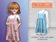 sims 4 cc // custom content clothing // The Sims Resource // TØMMERAAS' Layered T-Shirt and Dress Sims 4 Toddler Clothes, Sims 4 Cc Kids Clothing, Sims 4 Mods Clothes, Toddler Outfits, Kids Outfits, Toddler Fashion, Toddler Girls, Girl Fashion, Mods Sims 4