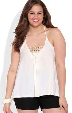 Embellished Plus Size Halter Top