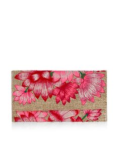 Lavish and luxe, our Belle clutch bag is embroidered with vibrant flowers, and embellished with scores of shimmering beads. This glam piece features a magnetic snap button closure, and has a zipped internal pocket for valuable items.