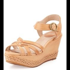 """Carlie 2 Piece"" Woven Leather Wedge Sandal NWOB You'll weave a tale of mysterious style with the Carlie 2 Piece by Frye®. Woven leather upper. Leather strap around ankle with round buckle. Leather footbed with cushioned leather heel pad. Rubber outsole with rubber forepart. Measurements: Heel Height: 3 1⁄4 in Platform Height: 1 1⁄2 in (B) Frye Shoes Sandals"