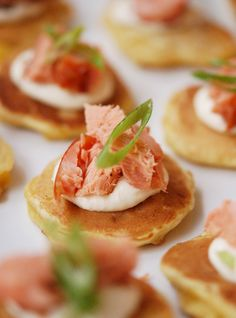 Mini Corn Cakes with Smoked Salmon & Horseradish Creme Fraiche