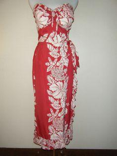 Vintage Hawaiian sarong dress. 50's. Shaheen.