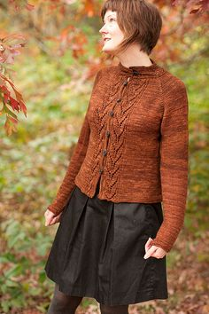 Bay and Gable is a cardigan with lace details down the front and at the collar. It is worked from the top down, in one piece, in the glorious Primo Worsted from The Plucky Knitter.