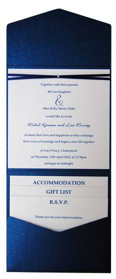 Sapphire blue metallic pocket fold wedding invitation.  See the range at www.sew-unique.co.uk