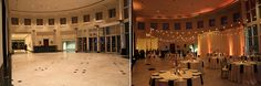 Orlando Museum of Art wedding reception before and after lighting. Weddiing lighting by keventlighting.com #orlandomuseumofart #beforeandafter #weddingdecor #weddinglighting #keventlighting