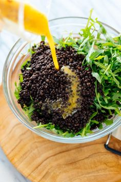 Lemony Roasted Broccoli, Arugula & Lentil Salad - Cookie and Kate Lentil Salad Recipes, Healthy Salad Recipes, Broccoli, Parmesan, Lentil Meatballs, Roasted Pineapple, Black Lentils, Protein, Food Test