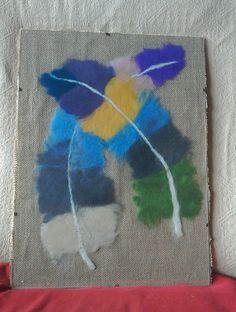 """Large feathers"" Wool felted feathers with Hessian backing and mounted."